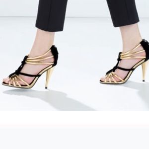 Brand New Zara Gold and Black Sandals Size 7.5
